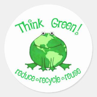 Kugel-Frosch-Umwelt recycelt Aufkleber