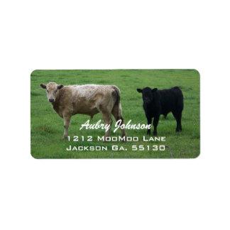Kuh-Adressen-Etiketten Adressaufkleber