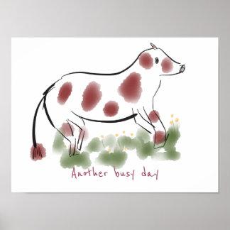 Kuh auf Gebiet   ein anderer beschäftigter Tag Poster