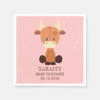 Kuh-Baby-Duschen-niedliche kundenspezifische rosa Papierserviette