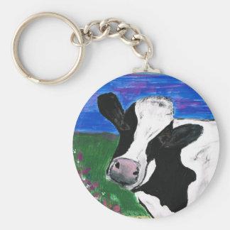 Kuh, Bauernhof, Tier, ländliches, handgemaltes Schlüsselanhänger