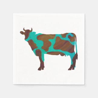 Kuh Brown und aquamarine Silhouette Papierservietten