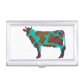 Kuh Brown und aquamarine Silhouette Visitenkarten Dose