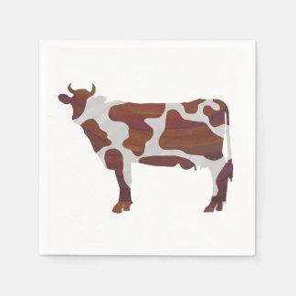 Kuh Brown und weiße Silhouette Papierserviette