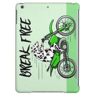 Kuh, die ein Motorcyle reitet