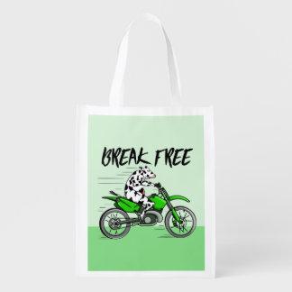 Kuh, die ein Motorcyle reitet Wiederverwendbare Einkaufstasche