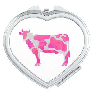 Kuh-heißes Rosa-und Weiß-Silhouette Taschenspiegel