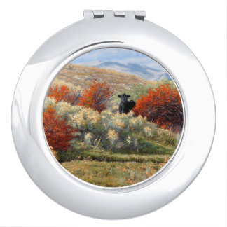Kuh im Fall, der kompakten Spiegel einstellt Taschenspiegel