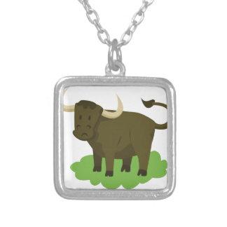 Kuh im Gras Versilberte Kette