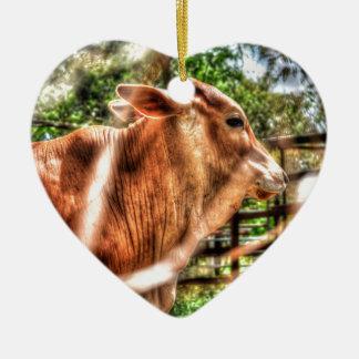 KUH LÄNDLICHES QUEENSLAND AUSTRALIEN KERAMIK Herz-Ornament