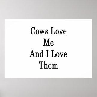 Kuh-Liebe ich und i-Liebe sie Poster