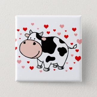 Kuh-Liebe Quadratischer Button 5,1 Cm
