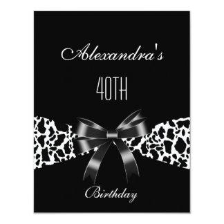 Kuh-Schwarz-weiße 40. Geburtstags-Einladung 10,8 X 14 Cm Einladungskarte