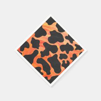 Kuh-schwarzer und orange Druck Papierserviette