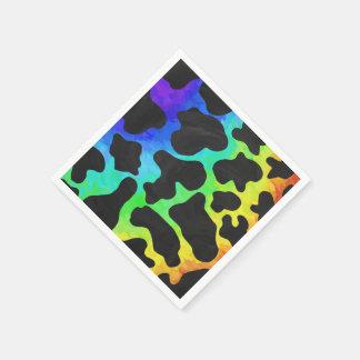 Kuh-Schwarzes und Regenbogen-Druck Papierservietten