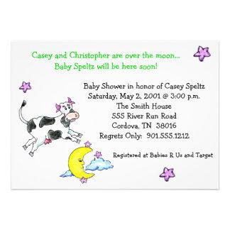 Kuh über den Mond-Babyparty-Einladungen