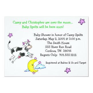 Kuh über den Mond-Babyparty-Einladungen 12,7 X 17,8 Cm Einladungskarte