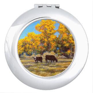 Kuh und Kalb goldene im Fall-Baum-kompakten Schminkspiegel