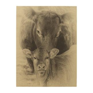 Kuh- und Kalbphotographie im Sepia Holzleinwand