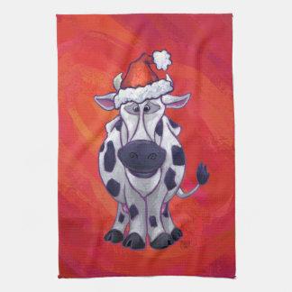 Kuh-Weihnachten auf rotem Feld Handtuch