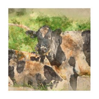 Kühe auf dem Gebiet Holzleinwand