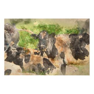 Kühe auf dem Gebiet Holzwanddeko