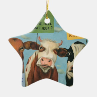 Kühe auf Streik Keramik Ornament