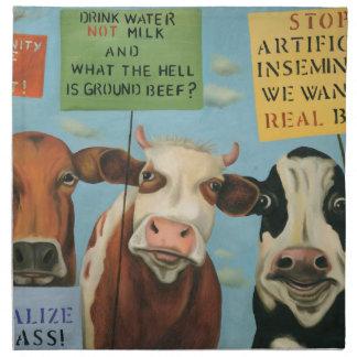 Kühe auf Streik Stoffserviette