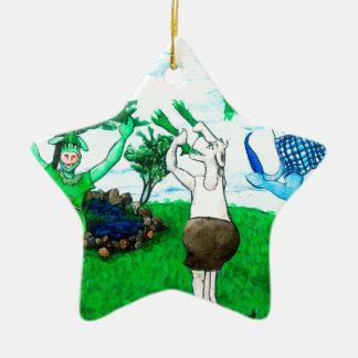 Kühe in den Röcken und in den Kleidern Keramik Ornament