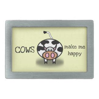 Kühe machen mich glücklich rechteckige gürtelschnalle