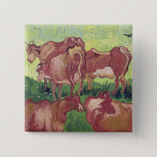 Kühe Vincent van Goghs  , 1890 Quadratischer Button 5,1 Cm