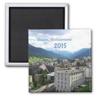 Kühlschrankmagnet-Änderungs-Jahr Davos die Schweiz Quadratischer Magnet