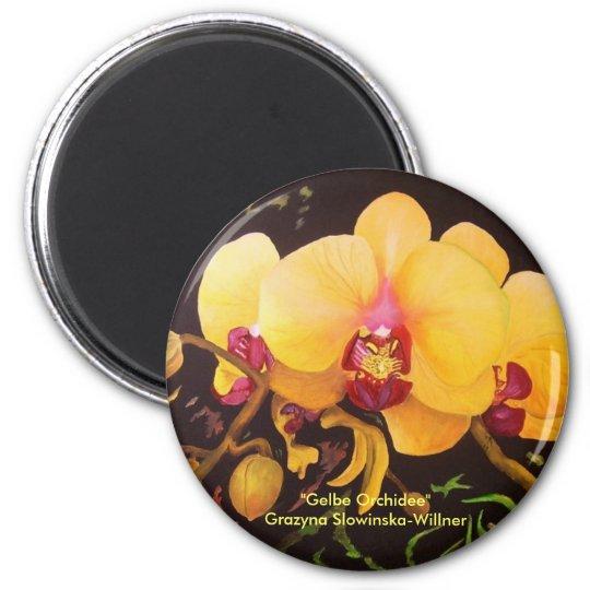 "Kühlschrankmagnet ""Gelbe Orchidee"""
