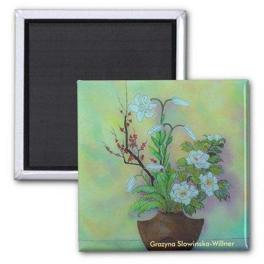 Kühlschrankmagnet,,Japanische Blume,, Quadratischer Magnet