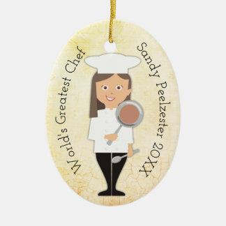 Kulinarische graduierte Mädchen-Koch Ovales Keramik Ornament