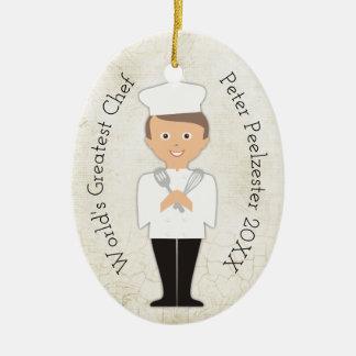 Kulinarische graduierte männliche Koch Keramik Ornament