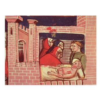 Kümmerte sich für einen verletzten Mann in einem Postkarte