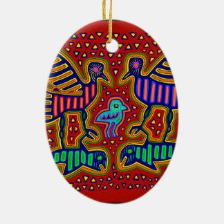 Kuna indische Vögel mit Fischen Keramik Ornament