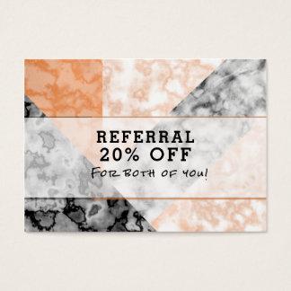 Kunden-Empfehlungs-Rosa-Marmor-Collage Visitenkarte