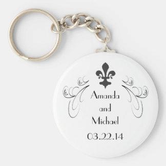 Kundengebundene dekorative Wedding Lilie Standard Runder Schlüsselanhänger
