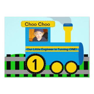 Kundengebundene Foto-Zug-Geburtstags-Einladung 12,7 X 17,8 Cm Einladungskarte