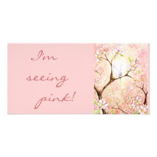 Kundengebundene rosa Blüten-Ansicht- Foto-Karte