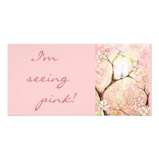 """Kundengebundene """"rosa Blüten-Ansicht-"""" Foto-Karte Photo Karten Vorlage"""