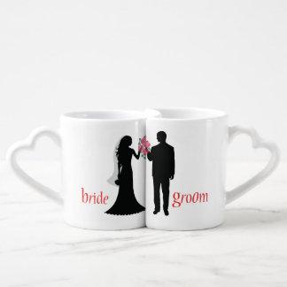 Kundengebundene Silhouette-Braut-und Paartassen