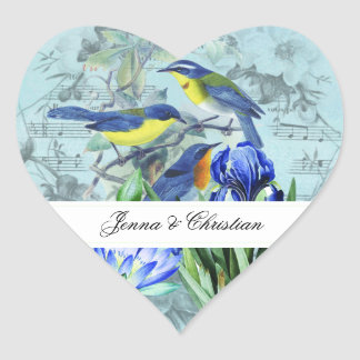 Kundengebundene Wedding Singvogel-Herz-Aufkleber Herz-Aufkleber
