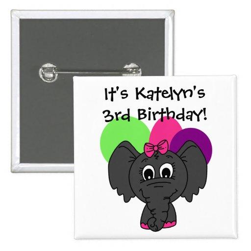 Kundengebundener Elefant mit Ballon-Geburtstags-Kn Buttons