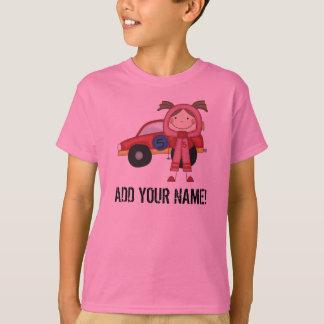Kundengebundener Mädchen-Rennen-Auto-Fahrer-T - T-Shirt