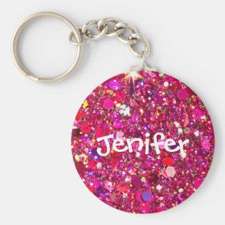 Kundengebundener Namensschein und Glitter Keychain Standard Runder Schlüsselanhänger