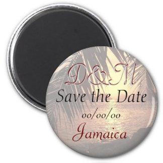 Kundengebundener Strand-Hochzeits-Save the Date Runder Magnet 5,1 Cm