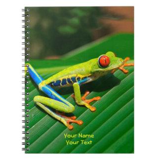 Kundengebundener tropisches Regenwaldgrün rot-mit Notizblock